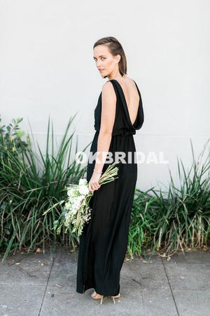 Black Chiffon Sleeveless Cheap Backless Floor-Length Bridesmaid Dresses, KX1027