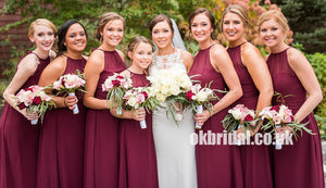 Charming Chiffon Sheath Long Sleeveless Zip Up Bridesmaid Dresses, KX1035