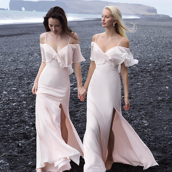 ebd869e7490d Newest Off Shoulder Slit Backless Cheap Chiffon Bridesmaid Dresses, KX1113