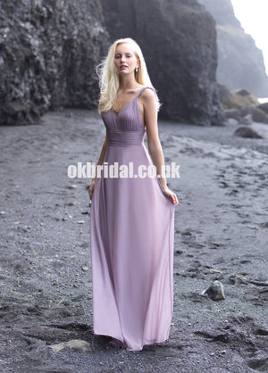 Chiffon A-Line Backless Bridesmaid Dress, Cheap Floor-Length Bridesmaid Dress, KX1115