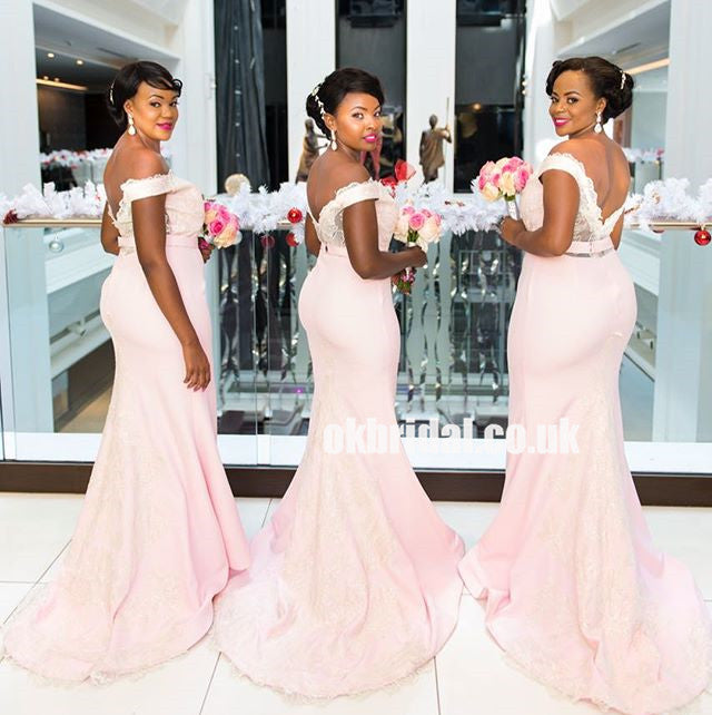 Pink Mermaid Bridesmaid Dresses, Off Shoulder Lace Backless Bridesmaid Dresses, KX1210