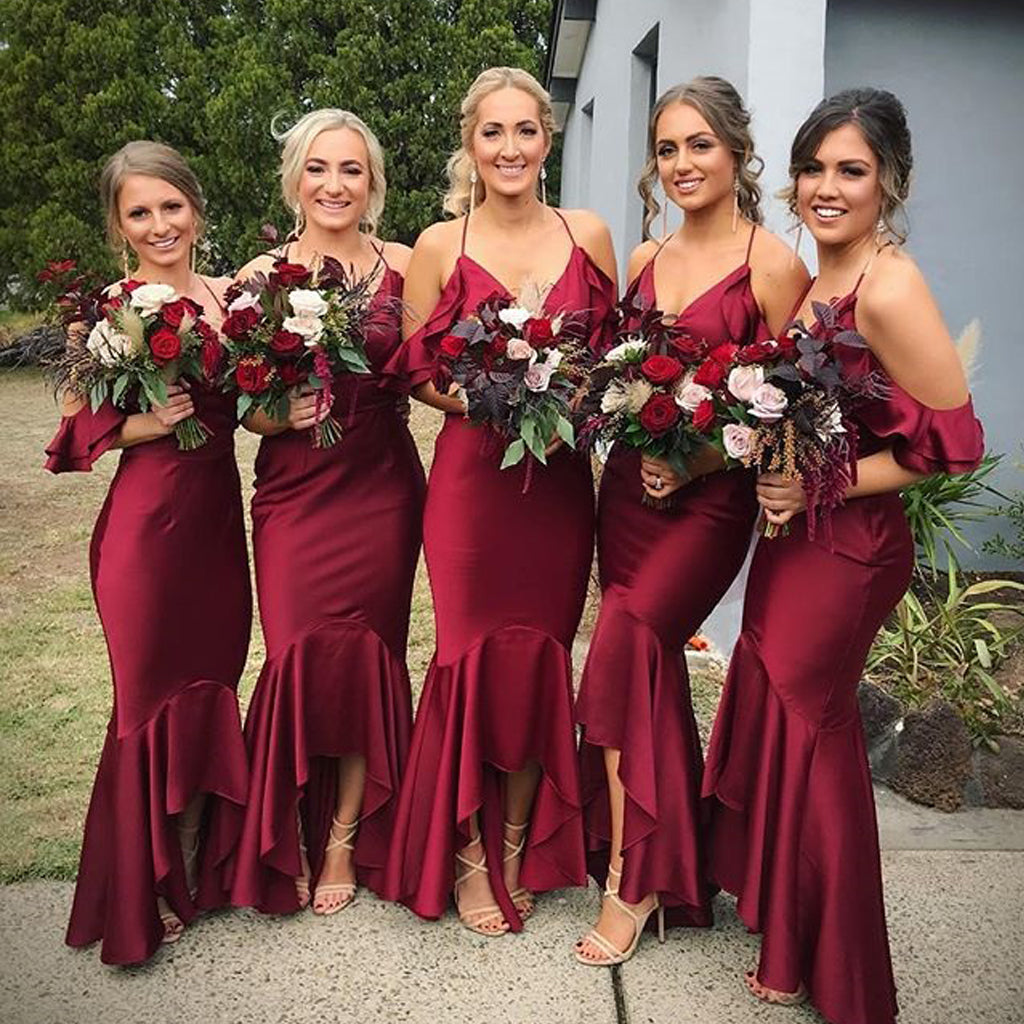 Sexy V-Neck Mermaid Bridesmaid Dress, Spaghetti Straps High-Low Bridesmaid Dress, KX1352