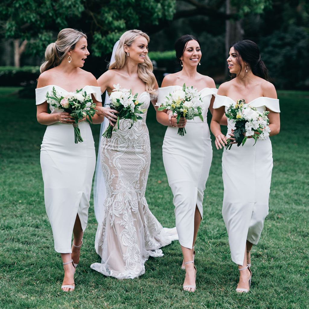Charming White Off Shoulder Bridesmaid Dress, Slit Mermaid Backless Bridesmaid Dress, KX1386
