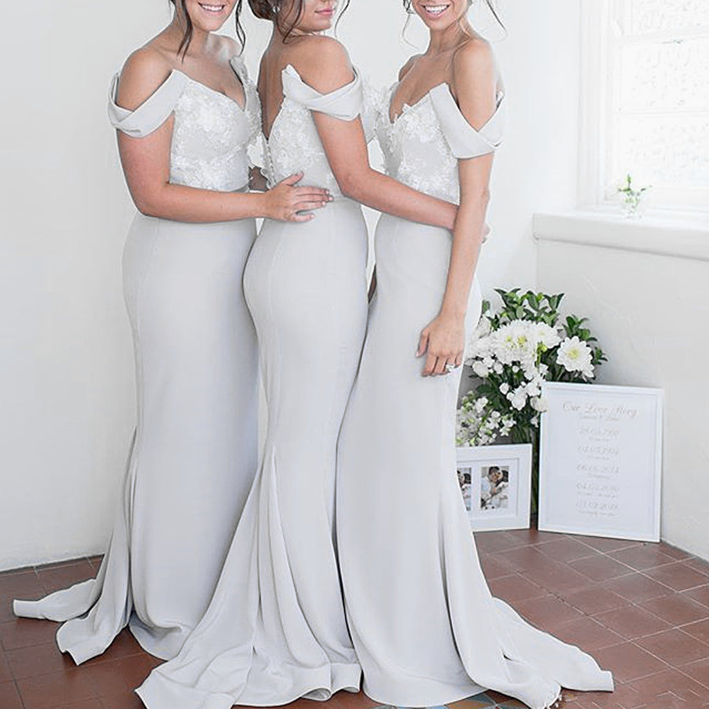 Off Shoulder Mermaid Bridesmaid Dress, Jersey Sexy Backless Bridesmaid Dress, KX1413