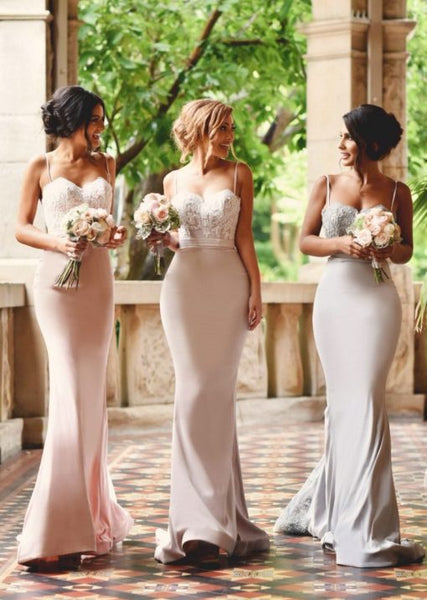 Hot Sale Mermaid Pink Lace Jersey Backless Sexy Long Bridesmaid Dress, KX931