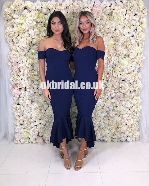 Navy Blue Sexy Mermaid Bridesmaid Dress, High-Low Backless Sweet Heart Bridesmaid Dress, KX1218