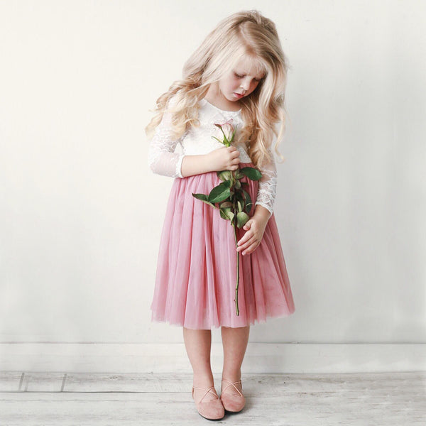 Long Sleeve Lace Flower Girl Dresses, Dusty Pink Tulle Popular Little Girl Dresses, KX1199
