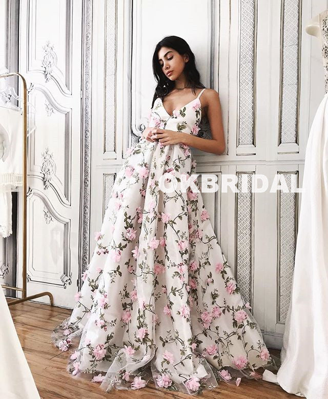 Charming Floral V-Neck Prom Dresses, Spaghetti Straps Backless Prom Dresses, KX900