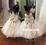 White Tulle Flower Belt Flower Girl Dresses with Bow-Knot, Popular Little Girl Dresses, KX1140