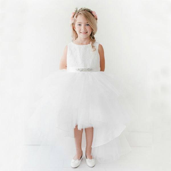 High-Low Lace Top Flower Girl Dresses, Tulle Lovely Little Girl Dresses, KX1142