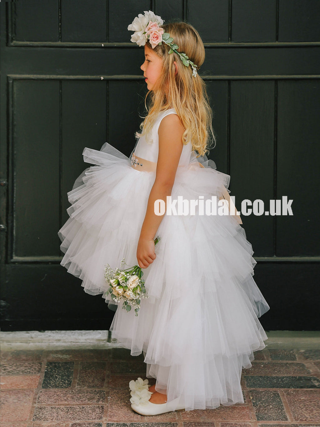 High-Low Tulle Round Neckline Flower Girl Dresses, Popular Little Girl Dresses, KX1144