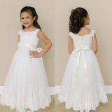 Lace Tulle Zip Up Flower Girl Dresses, Lovely Little Girl Dresses with Handmade Flower, KX1149