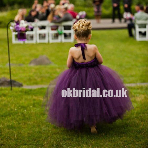 Purple Tulle Flower Girl Dresses, Simple Cheap Little Girl Dresses, KX1151