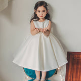 Cute Satin Beaded Flower Girl Dresses, Popular Little Girl Dresses, KX1171