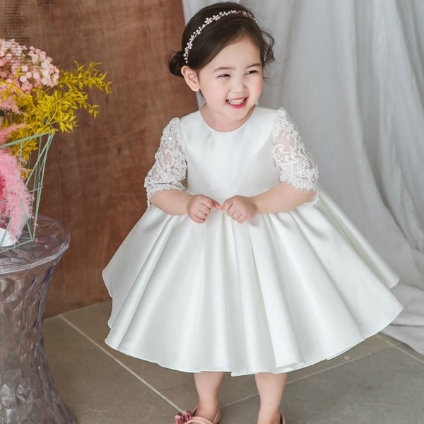 0c1c6e2b3b90 Half Sleeve Satin Flower Girl Dresses with Bow-Knot, Lace Popular Little Girl  Dresses