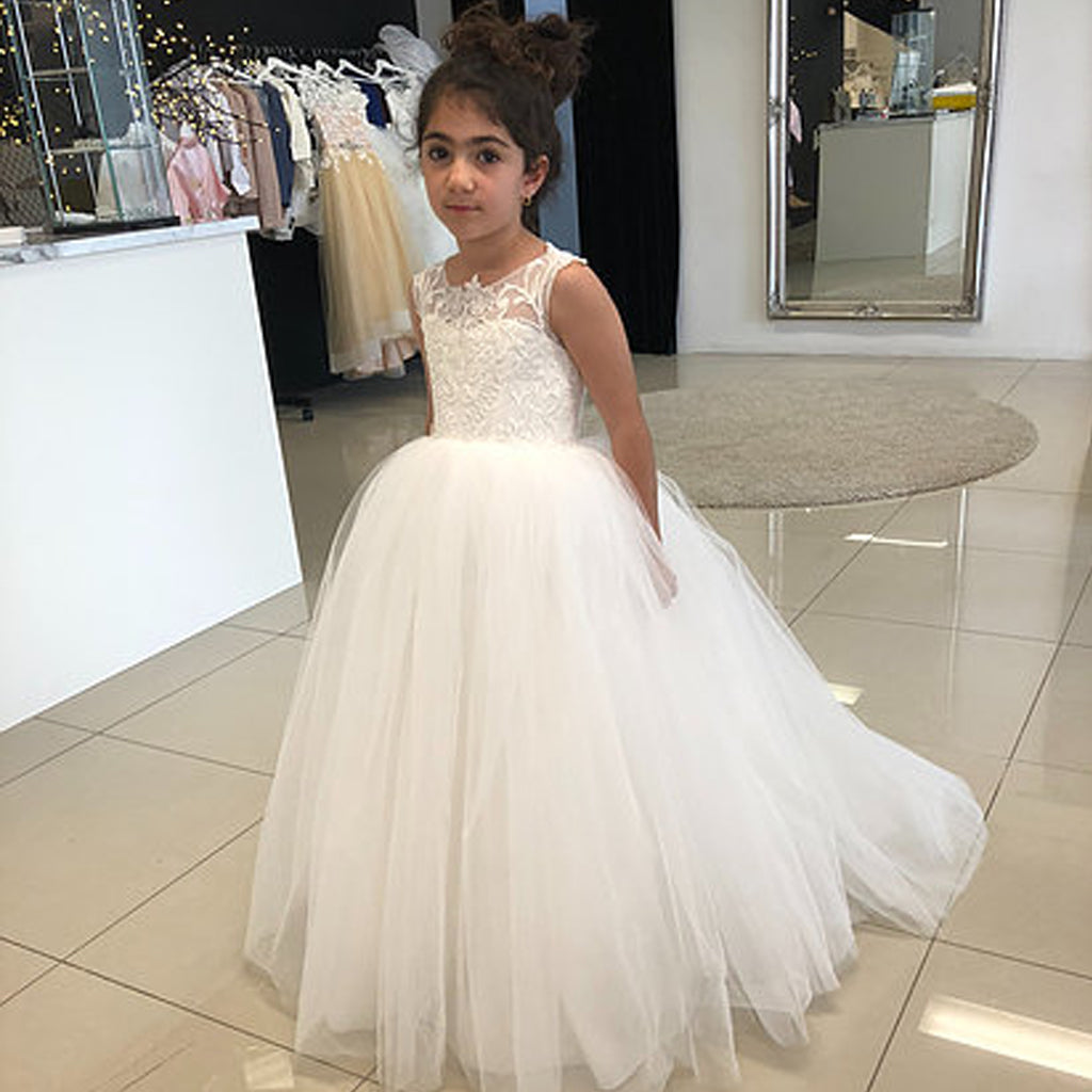 Lace Top V-Back Flower Girl Dresses, Tulle Applique Popular Little Girl Dresses, KX1195