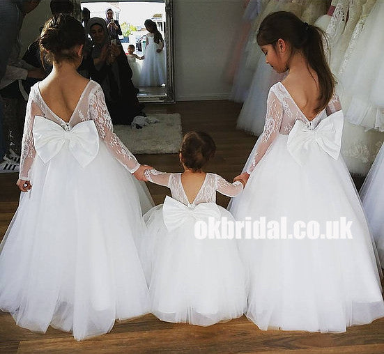 Long Sleeve Lace Top Flower Girl Dresses with Bow-Knot, Tulle Popular Little Girl Dresses, KX1196