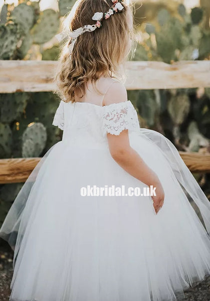 962fec41101e Adorable Tulle Off Shoulder Flower Girl Dresses, Lace Little Girl Dresses,  KX1235