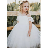 Adorable Tulle Off Shoulder Flower Girl Dresses, Lace Little Girl Dresses, KX1235