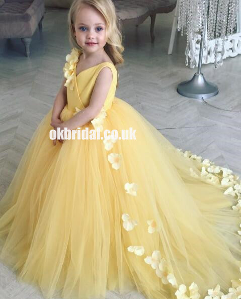 Adorable Yellow Tulle Flower Girl Dresses, Applique Little Girl Ball Gown, KX1300