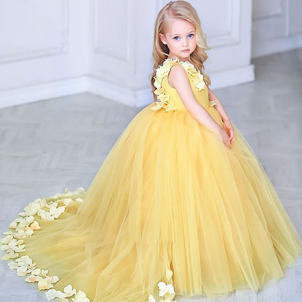 91656140568 Adorable Yellow Tulle Flower Girl Dresses