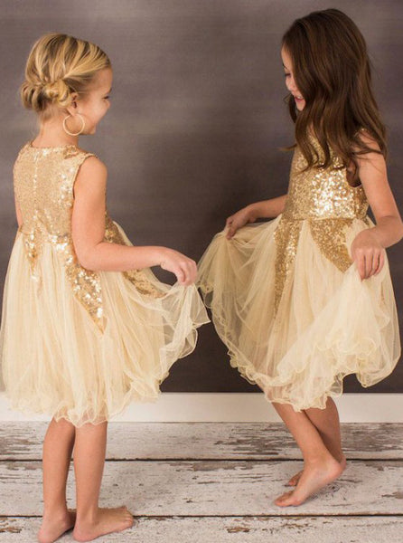 Gold Sequin A-Line Tulle Flower Girl Dresses, Lovely Little Girl Dresses, FC1357