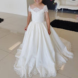 Off Shoulder Satin A-line Flower Girl Dresses, Applique Little Girl Dresses, FC1888