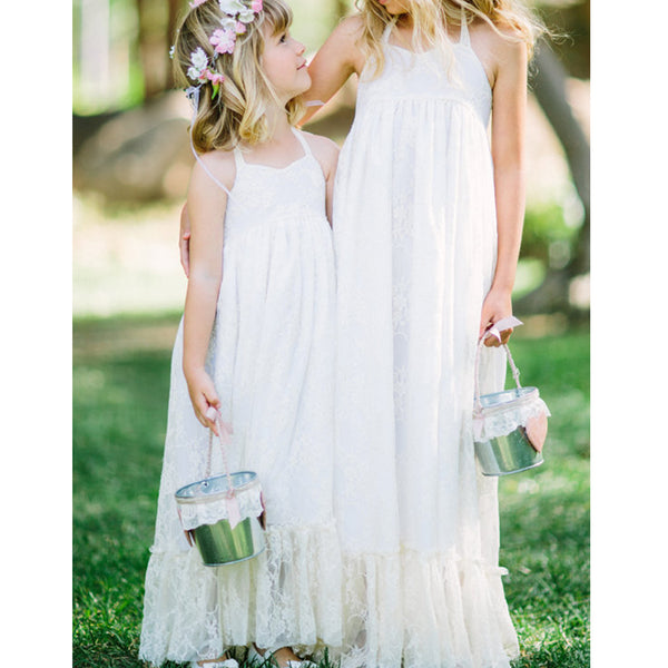 Halter Lace Flower Girl Dresses, A-Line Simple Little Girl Dresses, FC1919