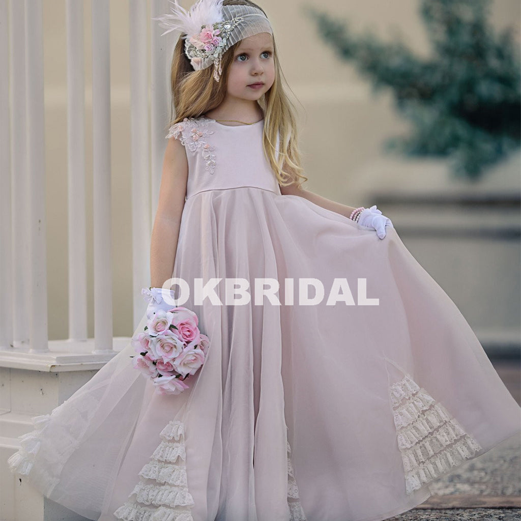 Cute Applique Tulle Flower Girl Dresses, Popular Little Girl Dresses, KX983
