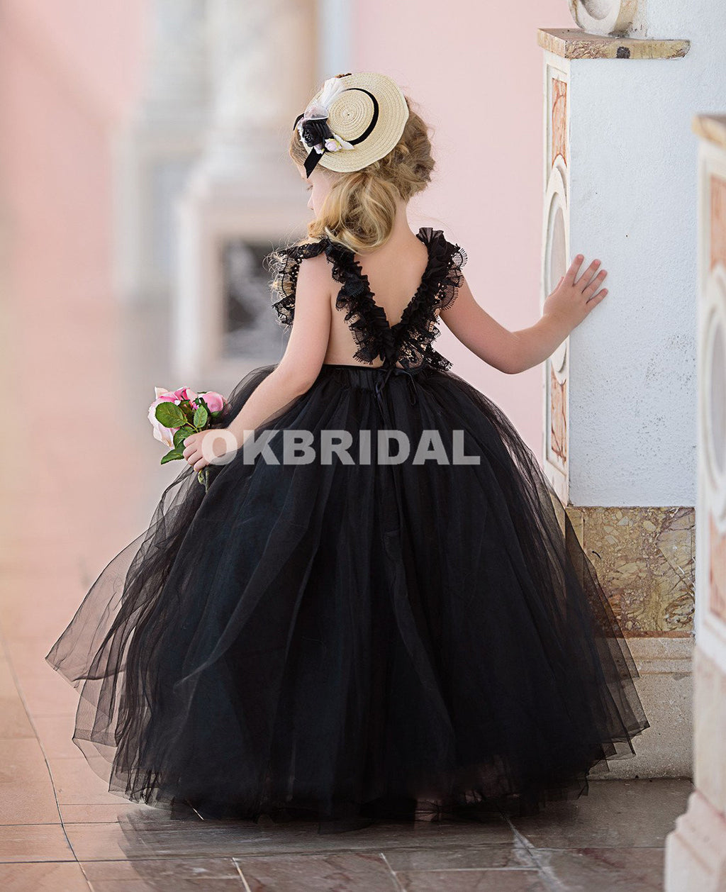 Black Cheap Tulle Flower Girl Dresses, Lace Popular Little Girl Dresses, KX984