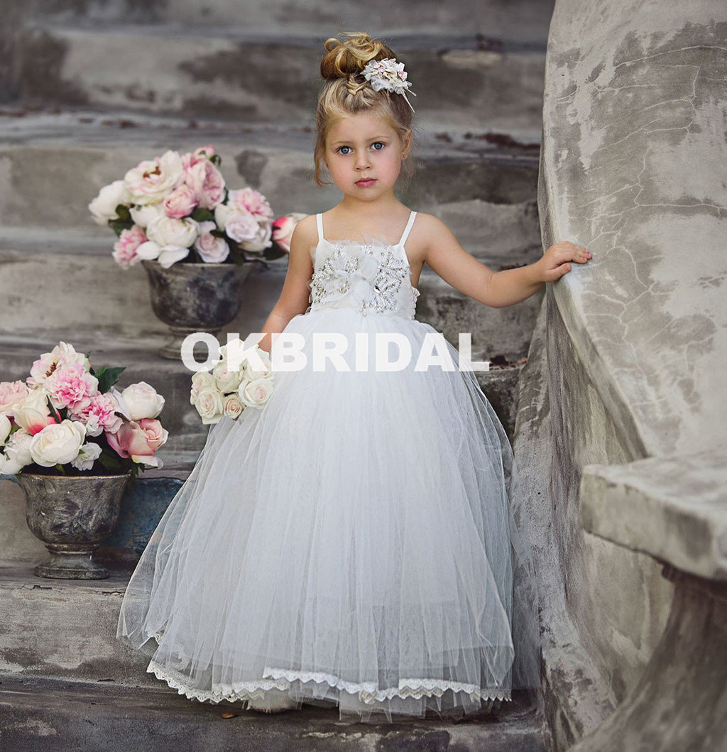 Cheap Tulle Backless Flower Girl Dresses, Beaded Popular Little Girl Dresses, KX985