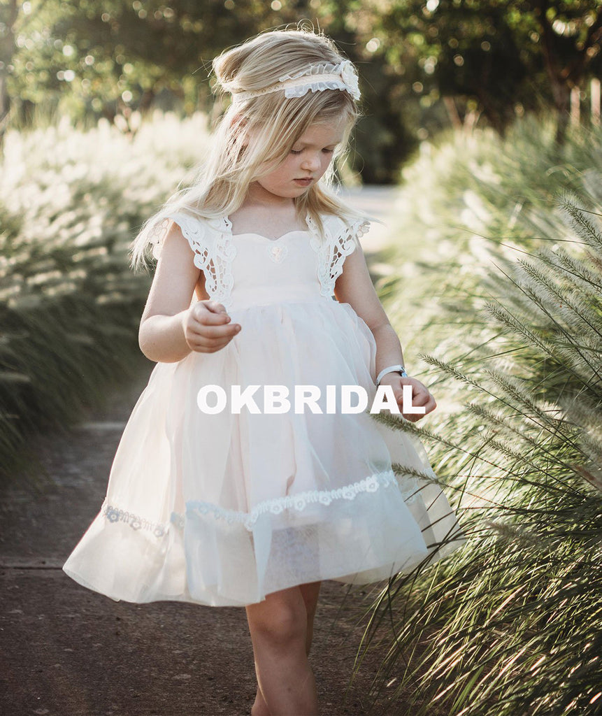 Cheap Tulle Lace Flower Girl Dresses, Simple Backless Popular Little Girl Dresses, KX986