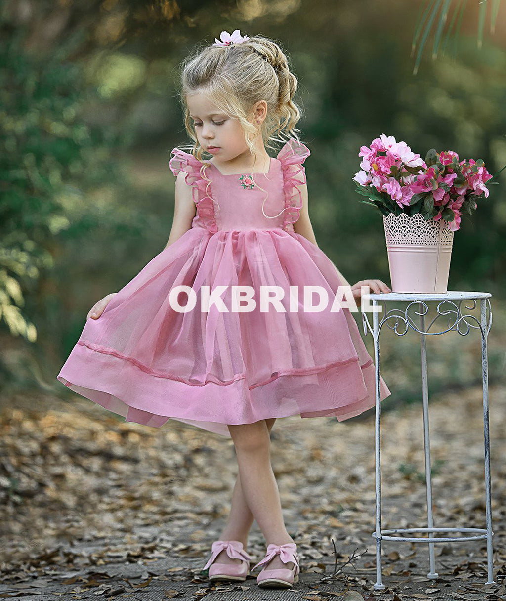 Simple Cute Tulle Flower Girl Dresses, Sleeveless Popular Little Girl Dresses, KX987