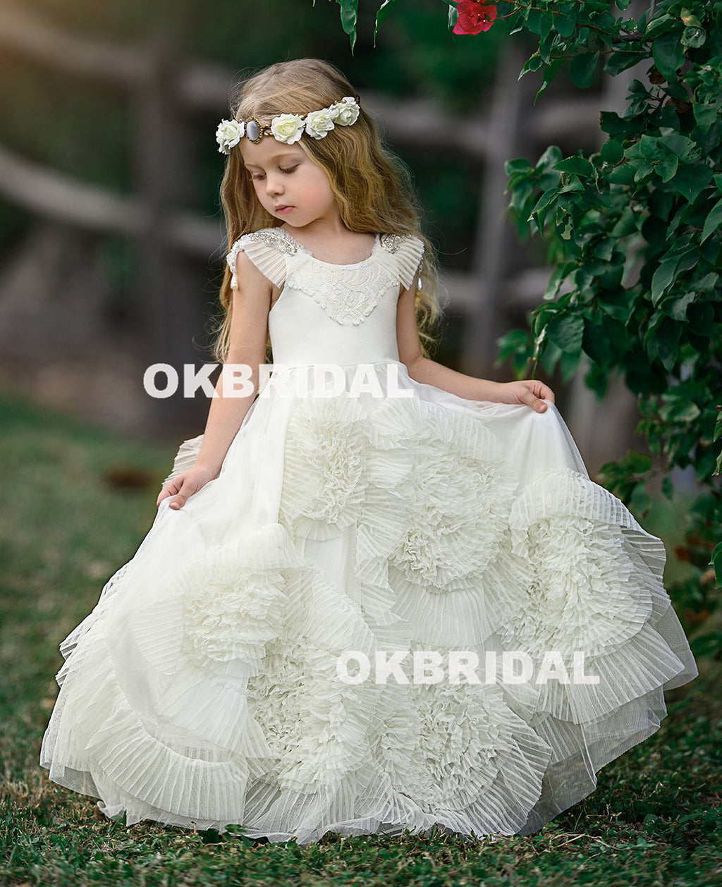 White Cute Tulle Flower Girl Dresses, Beaded Round Neckline Popular Little Girl Dresses, KX988
