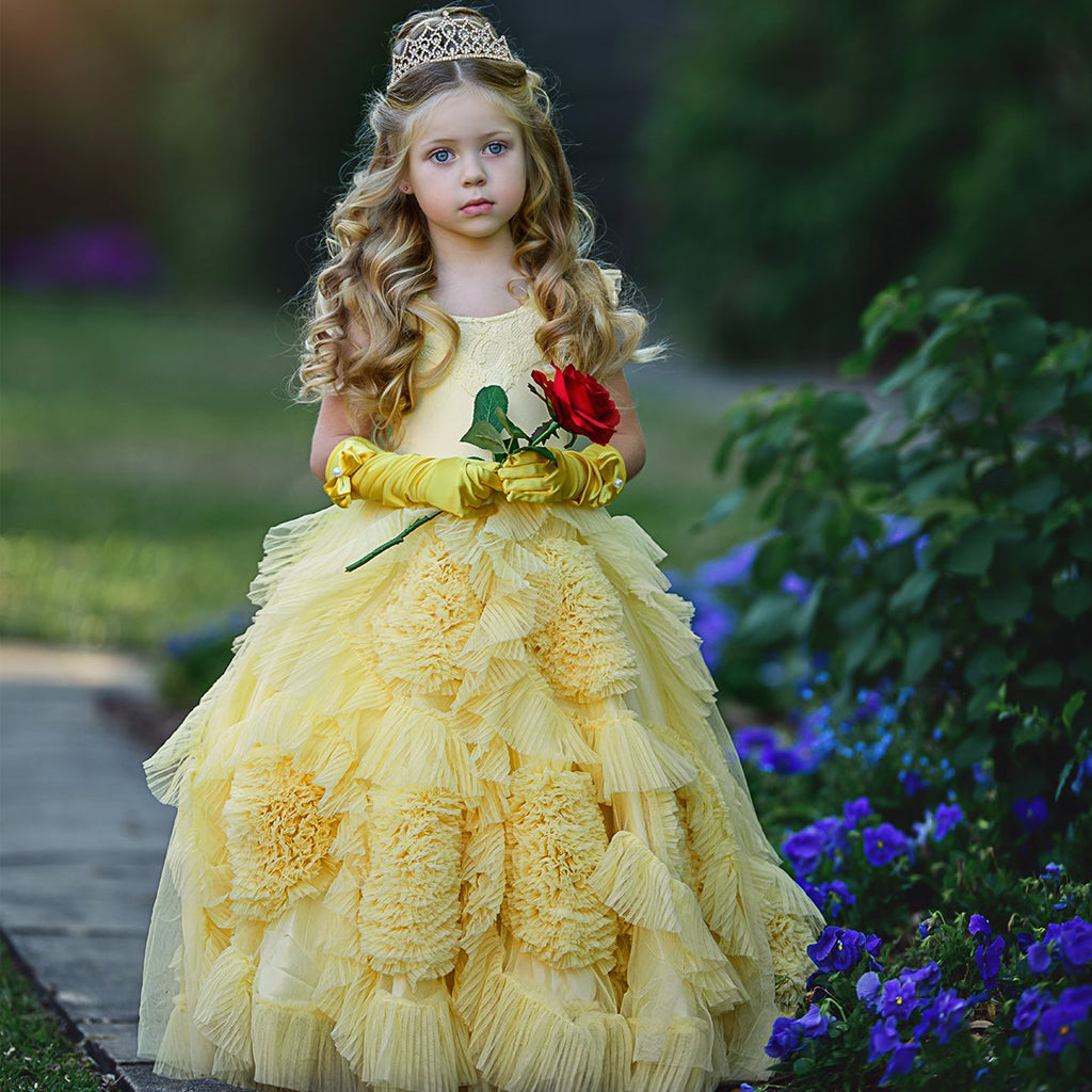 Yellow Cute Tulle Flower Girl Dresses, Beaded Round Neckline Popular Little Girl Dresses, KX989