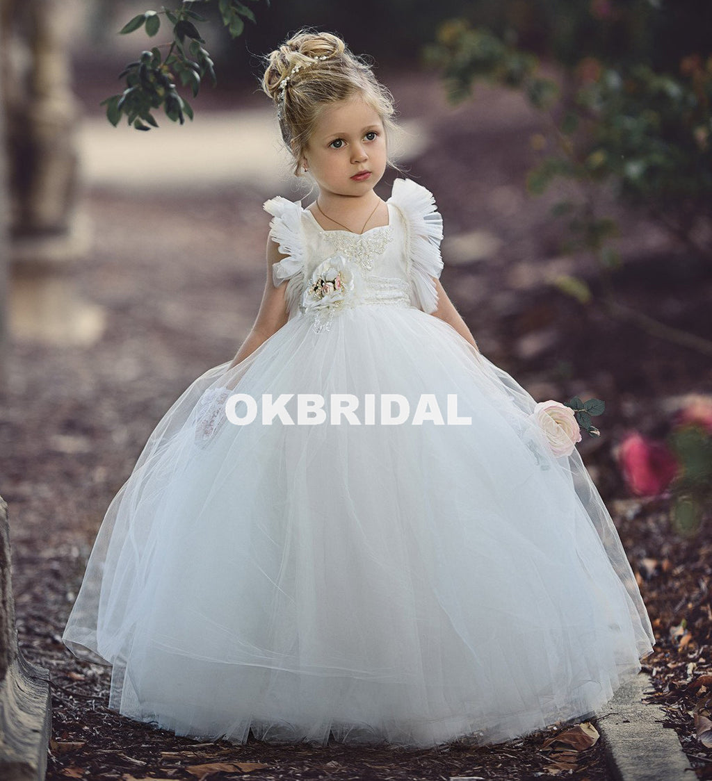 White Tulle Flower Girl Dresses, Beaded Backless Popular Little Girl Dresses, KX990