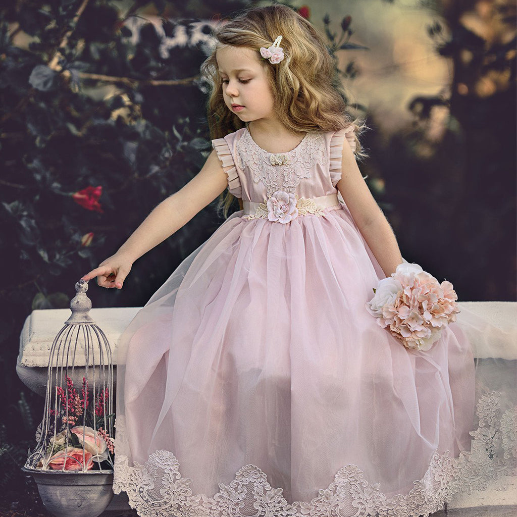 Pink Tulle Flower Girl Dresses, Lace Applique Popular Little Girl Dresses, KX991