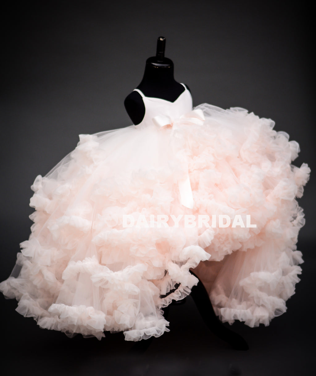 High-Low Pink Tulle Flower Girl Dresses, Backless Popular Little Girl Dresses, KX1209