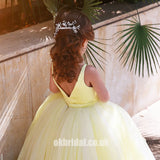 A-Line Tulle Yellow Flower Girl Dresses, Popular Satin Little Girl Dresses, FC1802