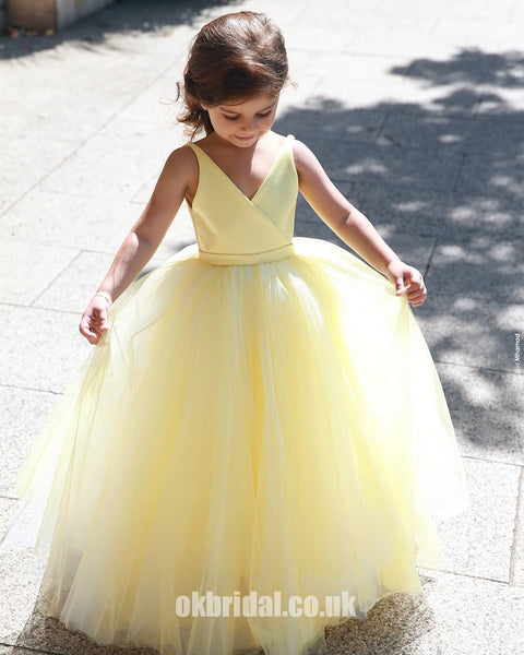 05275e8ad1 A-Line Tulle Yellow Flower Girl Dresses