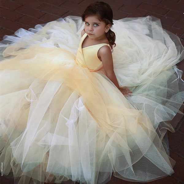 09ce808c9a5 A-Line Tulle Yellow Flower Girl Dresses, Popular Satin Little Girl Dresses,  FC1802