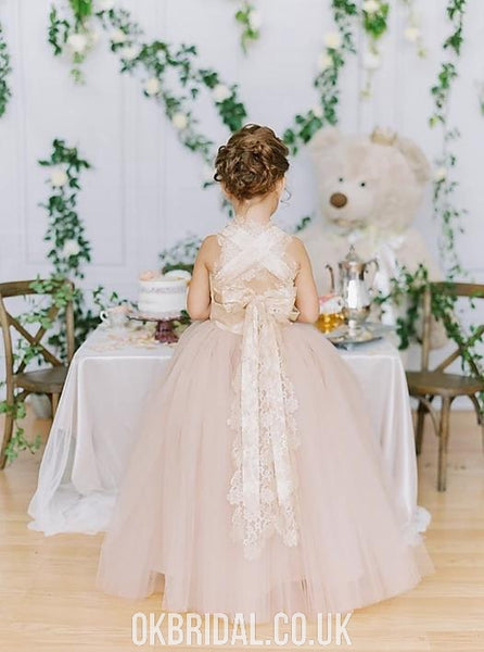 Charming Lace top A-line Tulle Flower Girl Dress, FC4889
