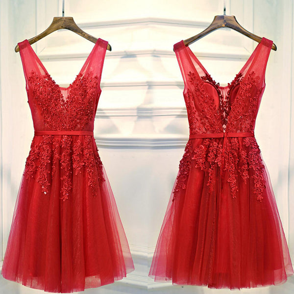 d1c66d9be61 V Neckline Red Lace Short Homecoming Dress