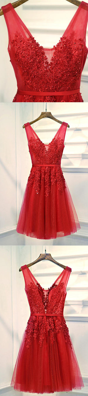 V Neckline Red Lace Short Homecoming Dress, Red Short Prom Dresses, Perfect Homecoming Dresses, Red Cocktail Dresses, CM0013