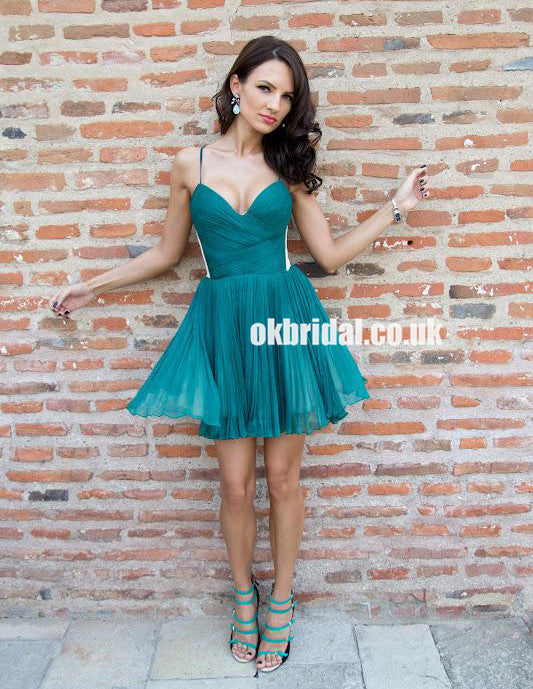 Spaghetti Straps Tulle Homecoming Dress, Backless A-Line Junior School Dress, KX1078