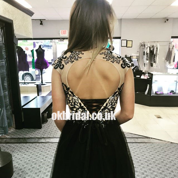 Black Cap Sleeve Homecoming Dress, Tulle A-Line Applique Open-Back Homecoming Dress, KX1276