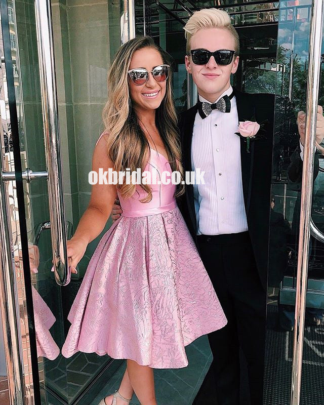 Pink A-Line Sleeveless Homecoming Dress, Lace Cheap Homecoming Dress, KX1286