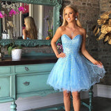 Blue A-Line Beaded Homecoming Dress, Sleeveless Tulle Backless Homecoming Dress, KX1287