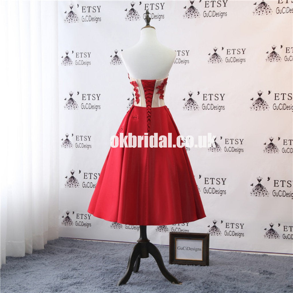 Red Satin Tea-Length Homecoming Dress, Applique Backless Homecoming Dress, KX1306