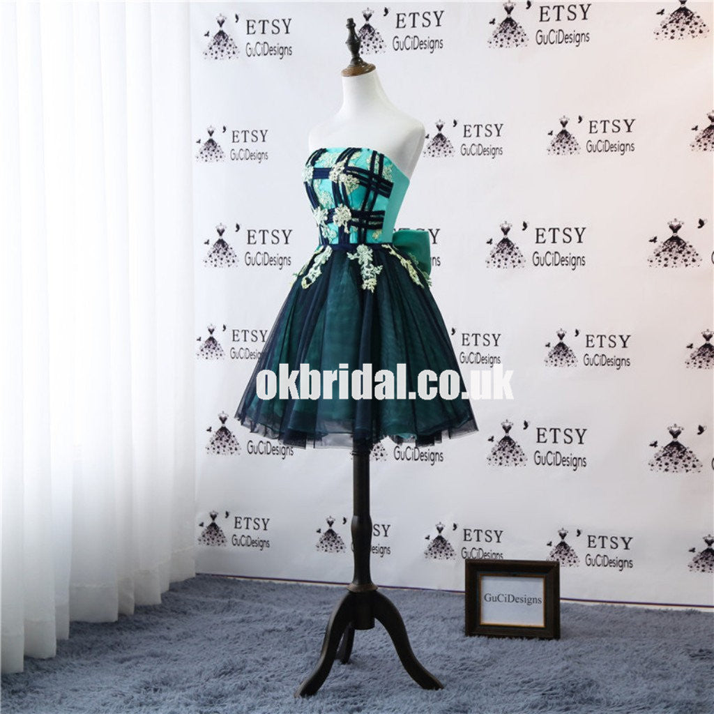 New Arrival Tulle A-Line Homecoming Dress, Applique Backless Homecoming Dress with Bow-Knot, KX1307